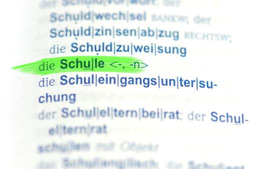 green marked german word Schule