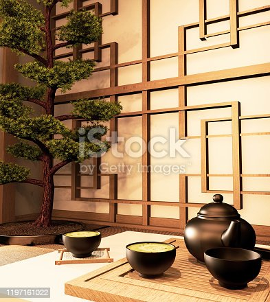Green matcha tea, bamboo whisk, spoon and tea powder in low table on tatami mat. 3D rendering