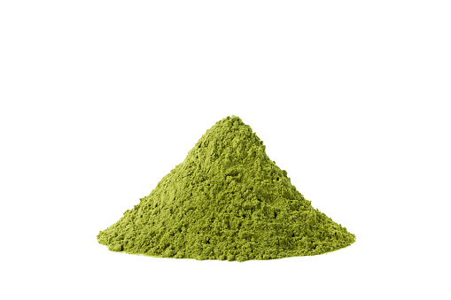 green matcha tea isolated on white