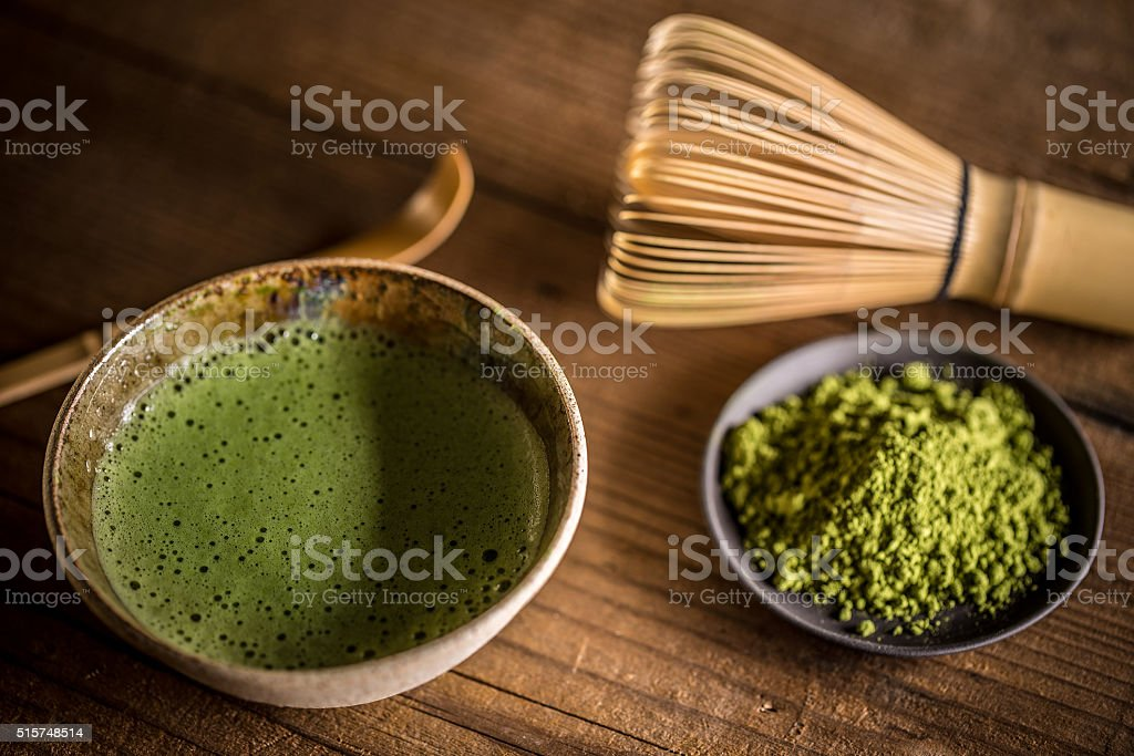 Green matcha tea stock photo