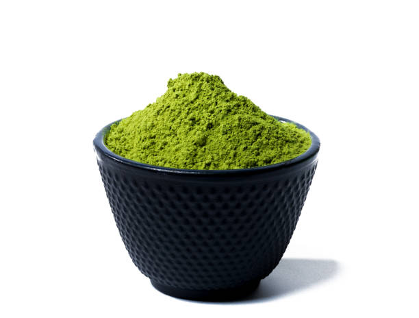 green matcha tea powder stock photo