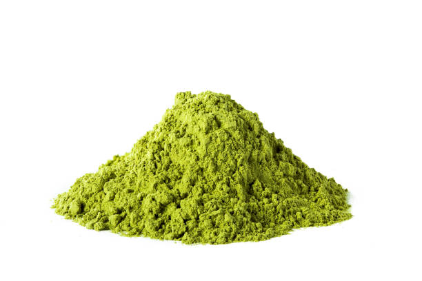 Green matcha tea powder stock photo
