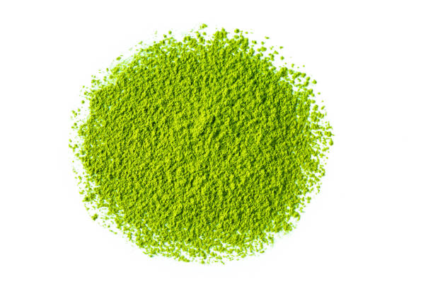 緑の抹茶茶粉末 - 抹茶 ストックフォトと画像