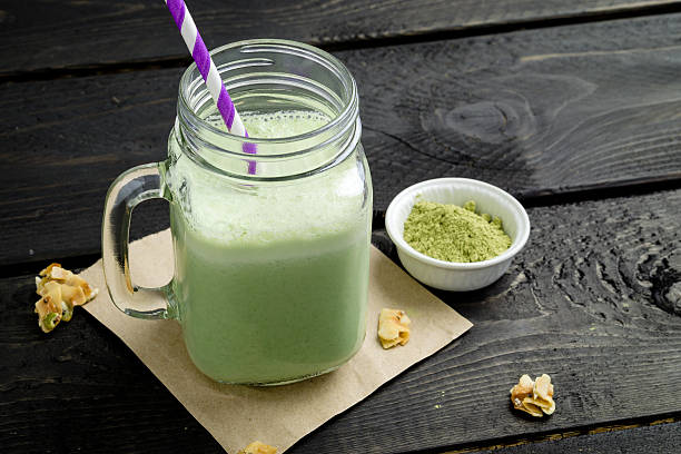 Green matcha tea smoothie stock photo