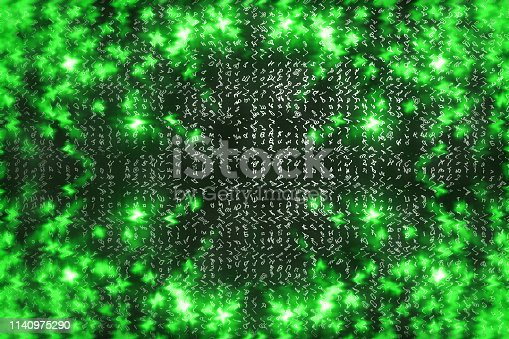175422126istockphoto Green matrix digital background. Abstract cyberspace concept. Characters fall down. Matrix from symbols stream. Virtual reality design. Complex algorithm data hacking. Green digital sparks. 1140975290
