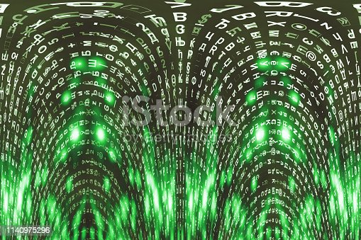 175422126istockphoto Green matrix digital background. Distorted cyberspace concept. Characters fall down. Matrix from symbols stream. Virtual reality design. Complex algorithm data hacking. Green digital sparks. 1140975296