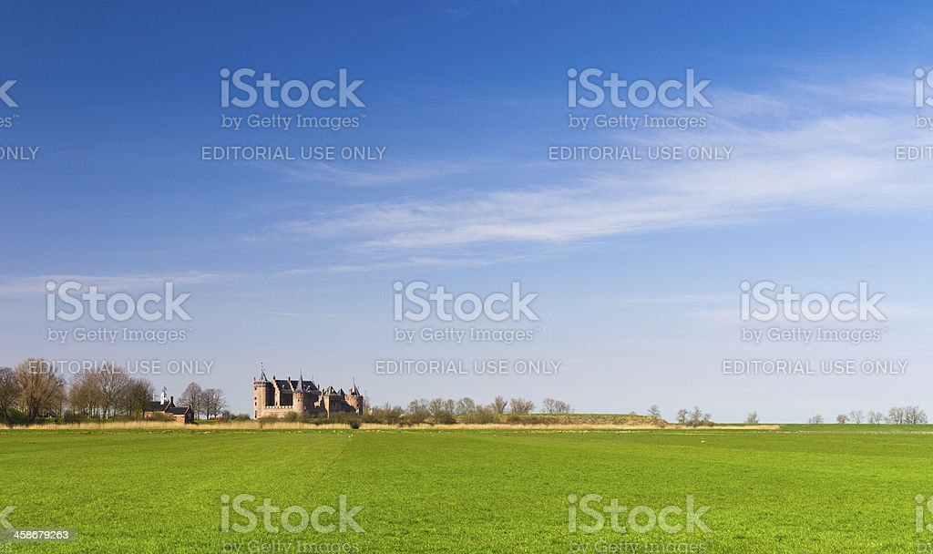 Green meadow, Blue sky, Castle on the horizon stock photo