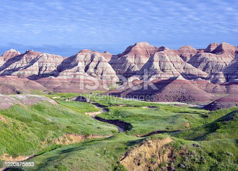 Summer scenery of the Badlands National Park. Picture taken in early June after rains in South Dakota, USA.