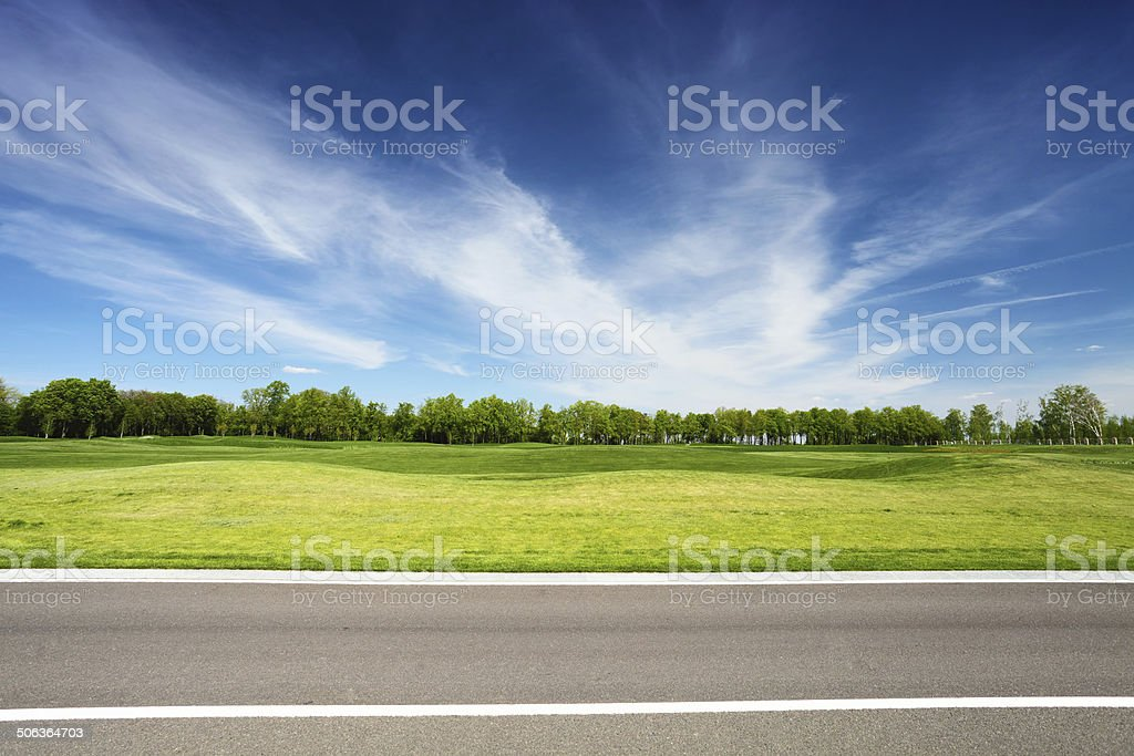 green meadow with trees and asphalt road stock photo