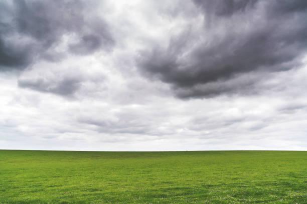 Green meadows under cloudy sky stock photo