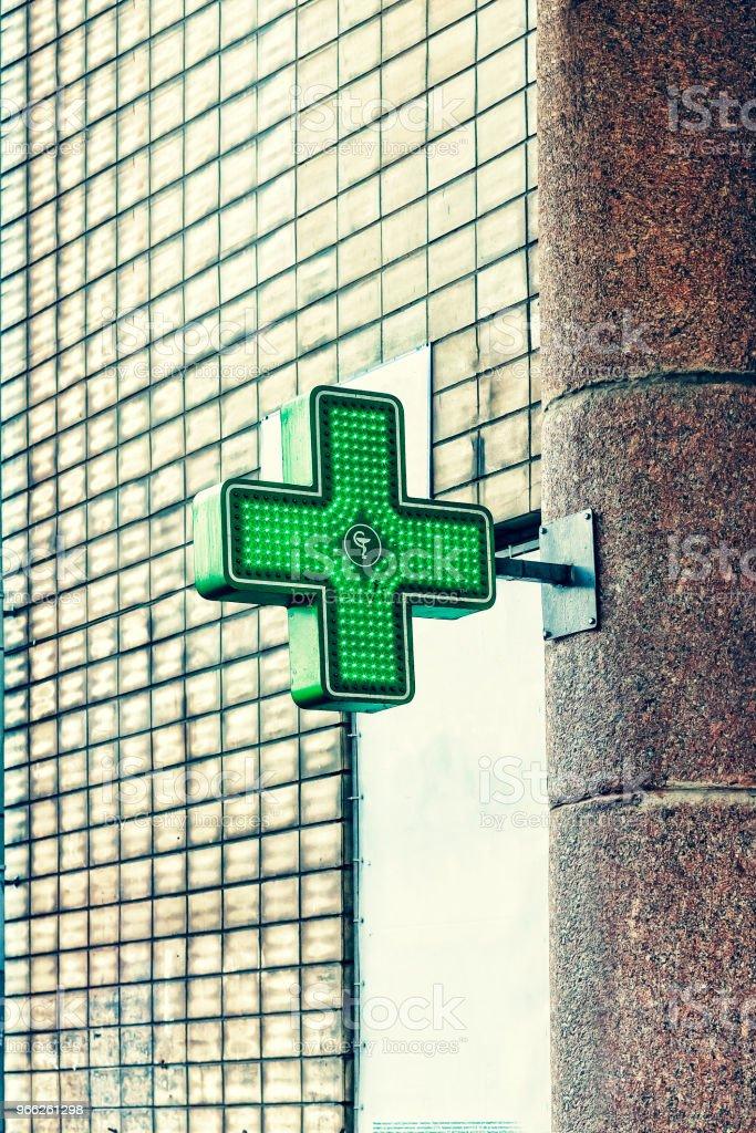 Green Medical Cross Pharmacy Neon Sign Drug Store Pharmacy Concept