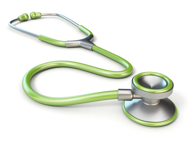 green medical stethoscope 3d - stethoscope stock pictures, royalty-free photos & images