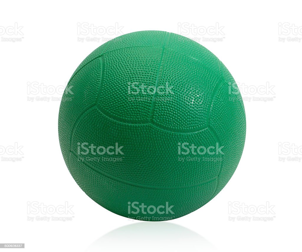 Green medicine ball for muscle building stock photo