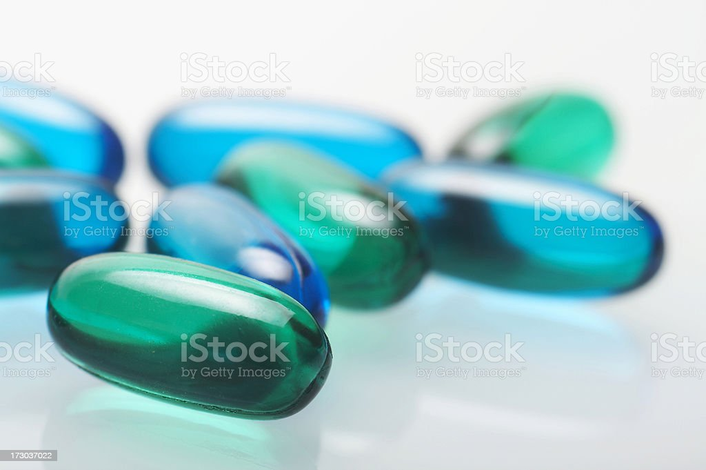 Green medicine pills stock photo