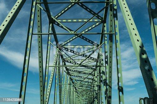 Many green metal beams of the Astoria - Megler Bridge  Bridge in Astoria, Oregon, USA.