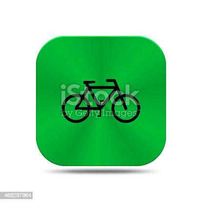 istock Green metal button with bicycle icon 468267964
