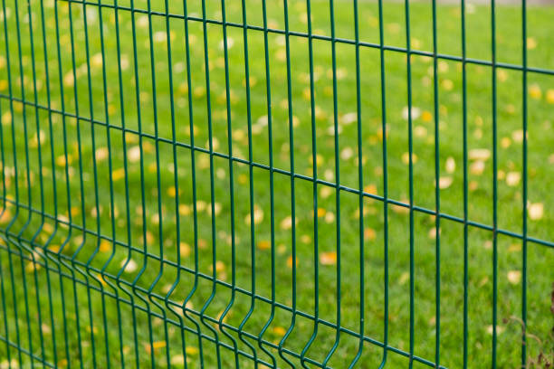 clôture en métal vert sur fond flou - grillage photos et images de collection