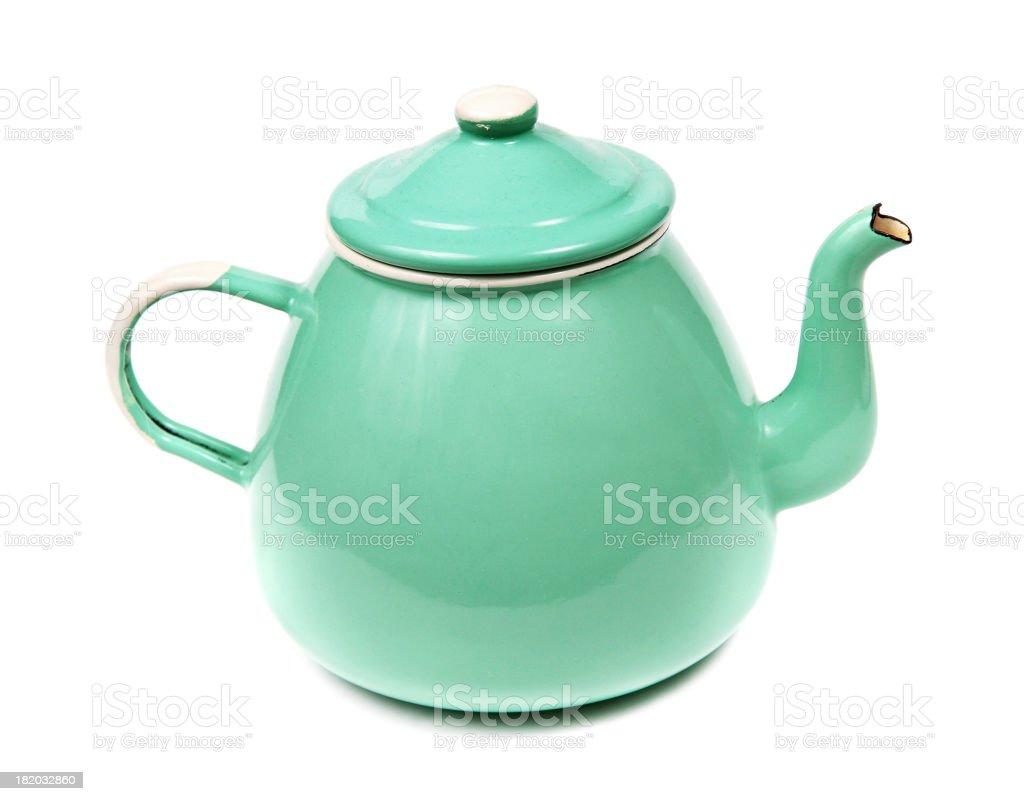 Green Metal teapot on white stock photo