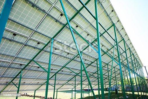 istock Green metallic carcass maintaining solar batteries. 1008870066