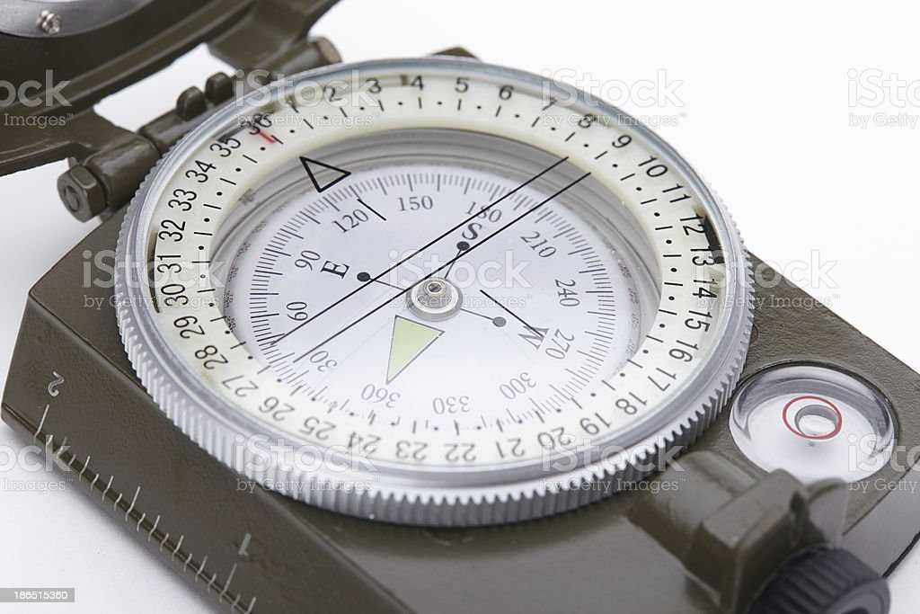 Green Military compass isolated on white background royalty-free stock photo