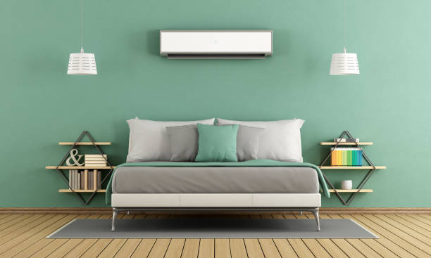 grüne moderne schlafzimmer - kissen grün stock-fotos und bilder