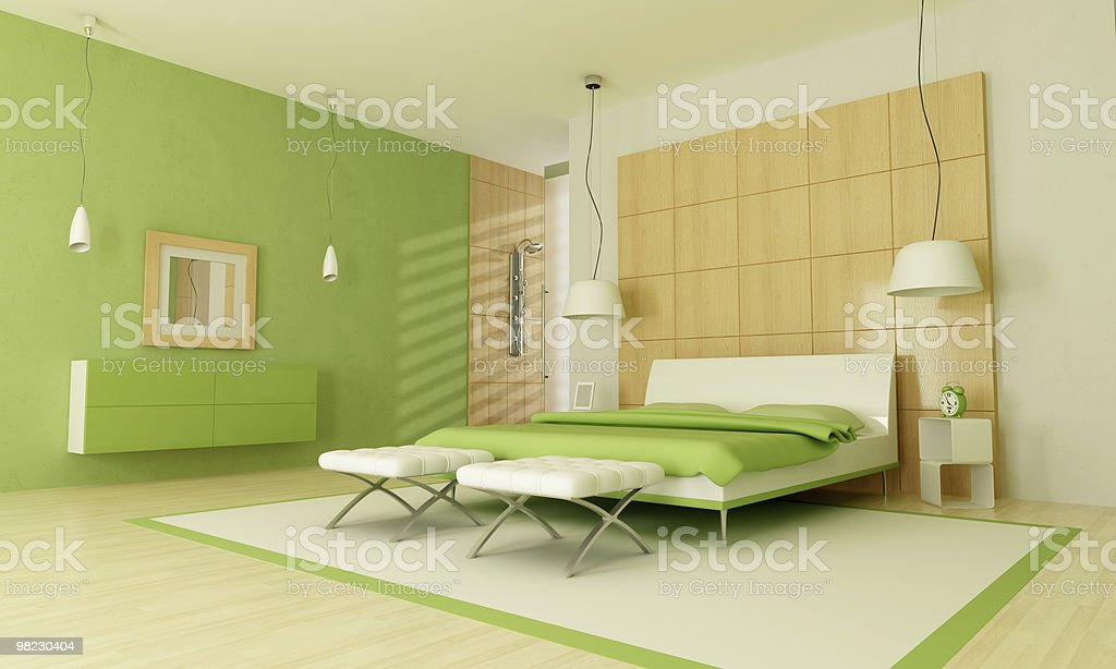 Verde moderna camera da letto foto stock royalty-free