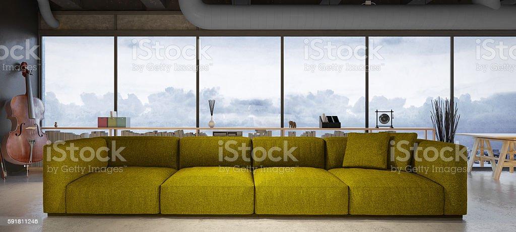 Green modern sofa in the loft stock photo