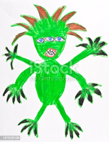 istock green monster drawing by child 157528106