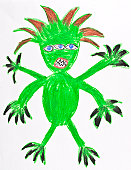 green monster drawing by child