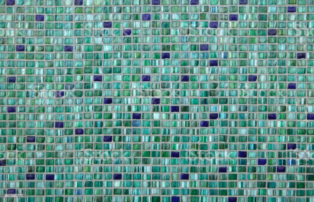 Green mosaic tiles. Background texture stock photo