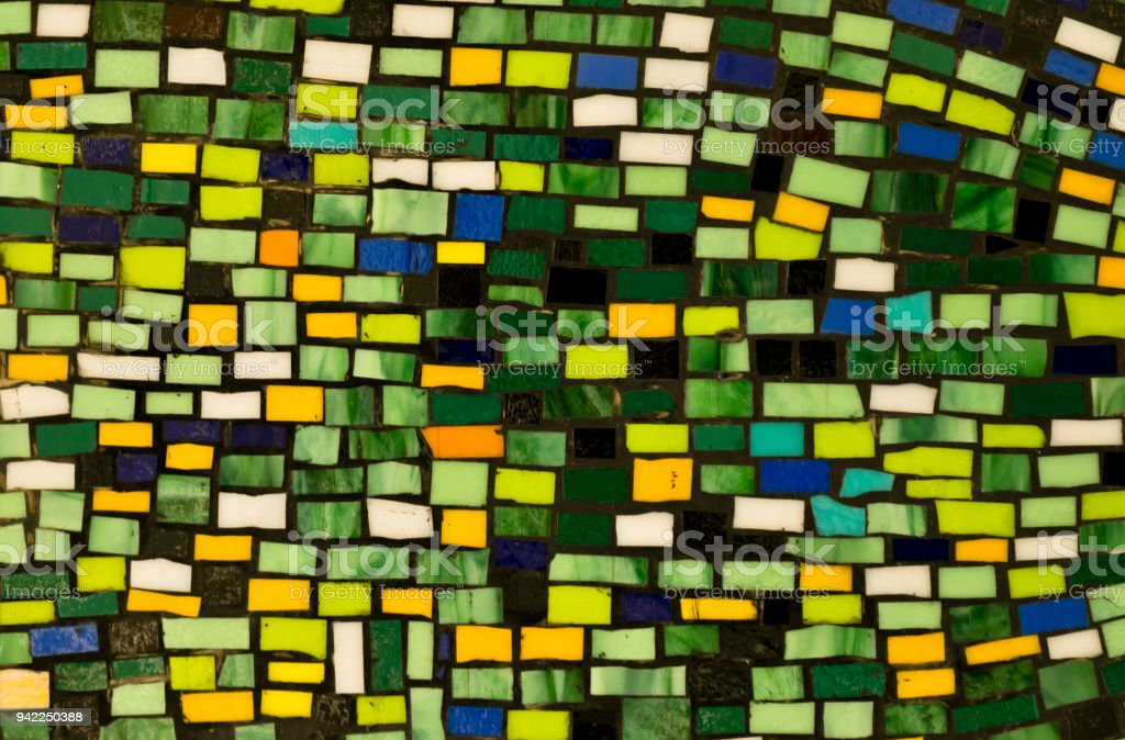 Green mosaic wall background stock photo