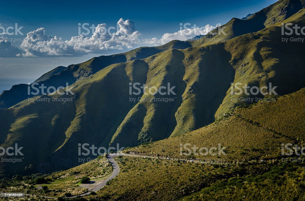 Green mountain and clouds. stock photo