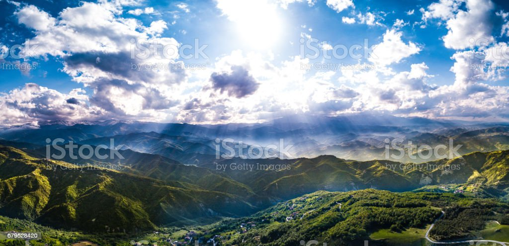 Green mountain landscape in a beautiful spring day royalty-free stock photo