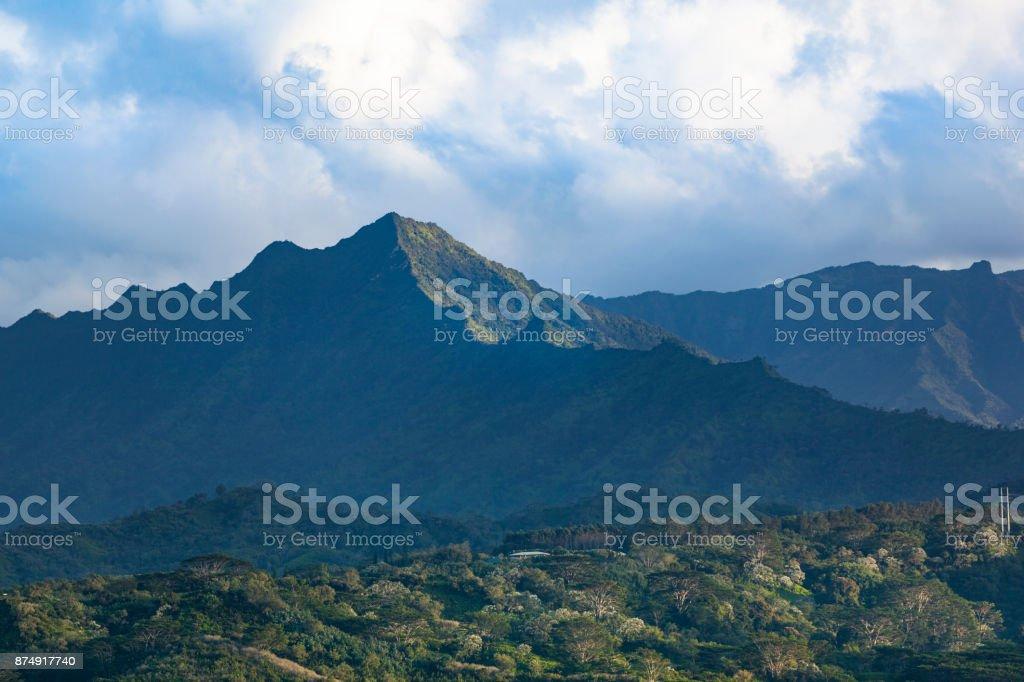 green mountain range, kauai island, hawaii islands stock photo