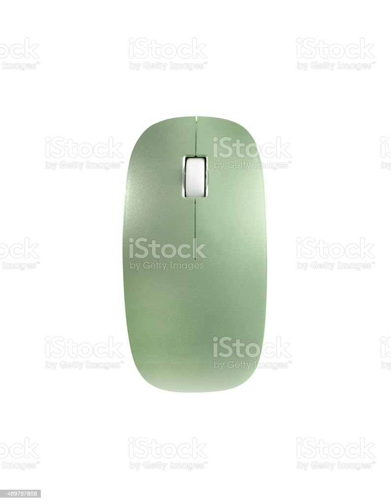 green mouse isolated on white background stock photo