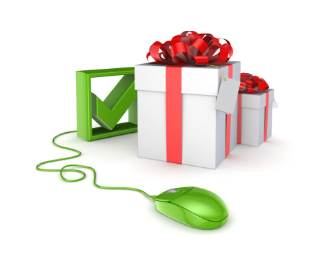 506662064 istock photo Green mouse, tick mark and gift boxes. 459294165