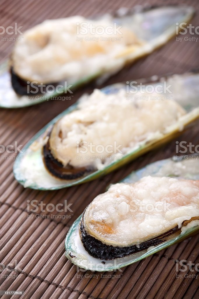 Green mussels with parmesan royalty-free stock photo