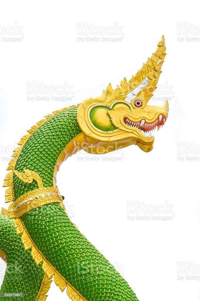 green nagas statue stock photo
