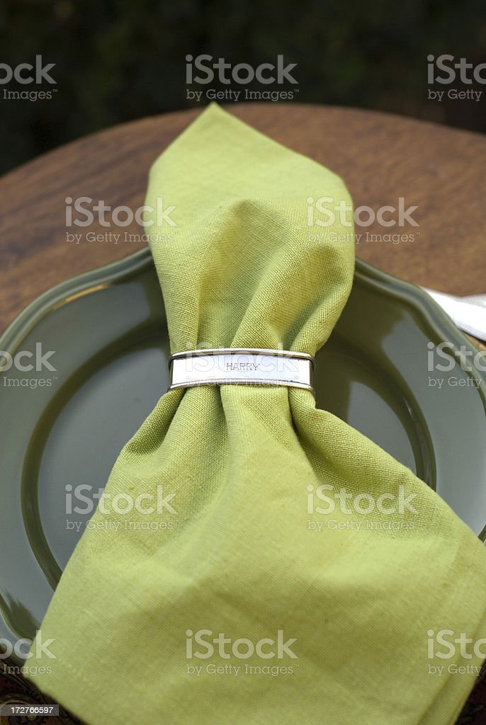 Green Napkin & Plate: Christmas or Thanksgiving Holiday Table Place Setting royalty-free stock photo