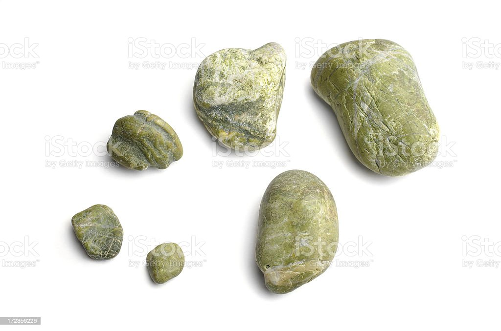 Green  natural stones on a white background royalty-free stock photo