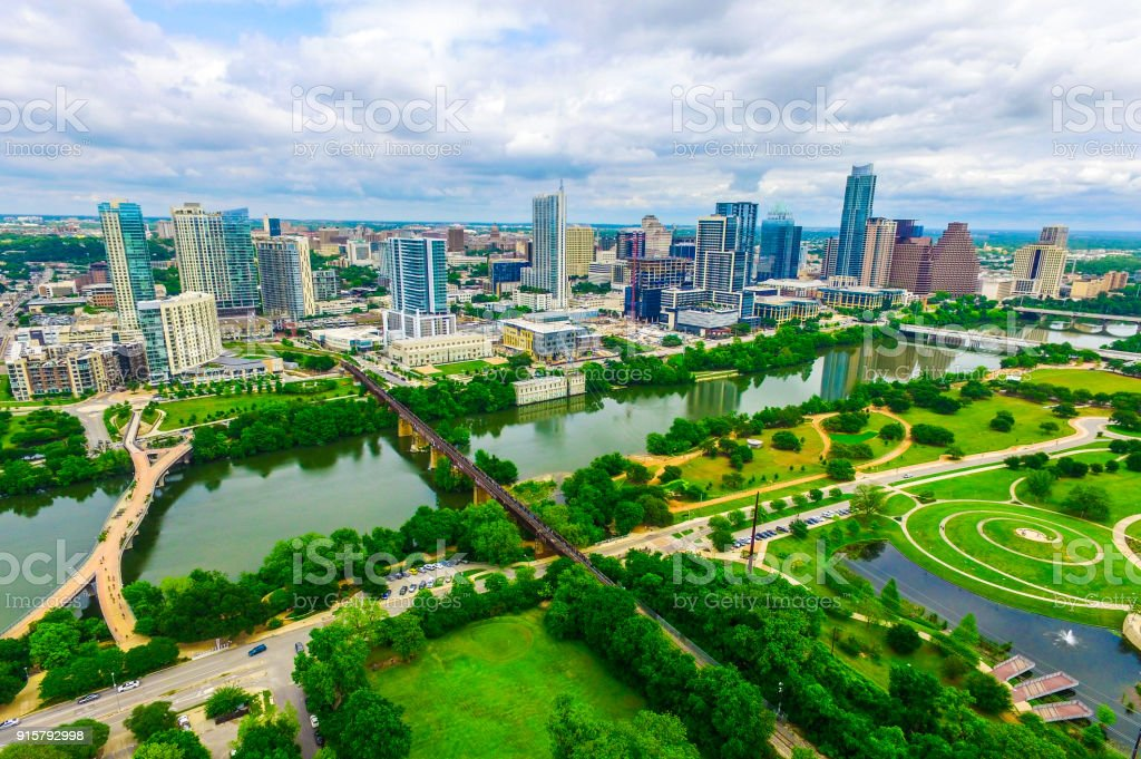 Green Nature Meets City along the Texas Hill Country in Austin , Texas , USA stock photo