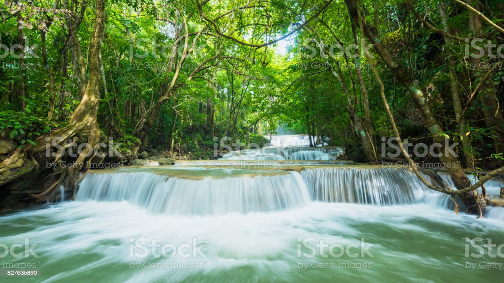 Green nature with green waterfall landscape, Erawan waterfall stock photo