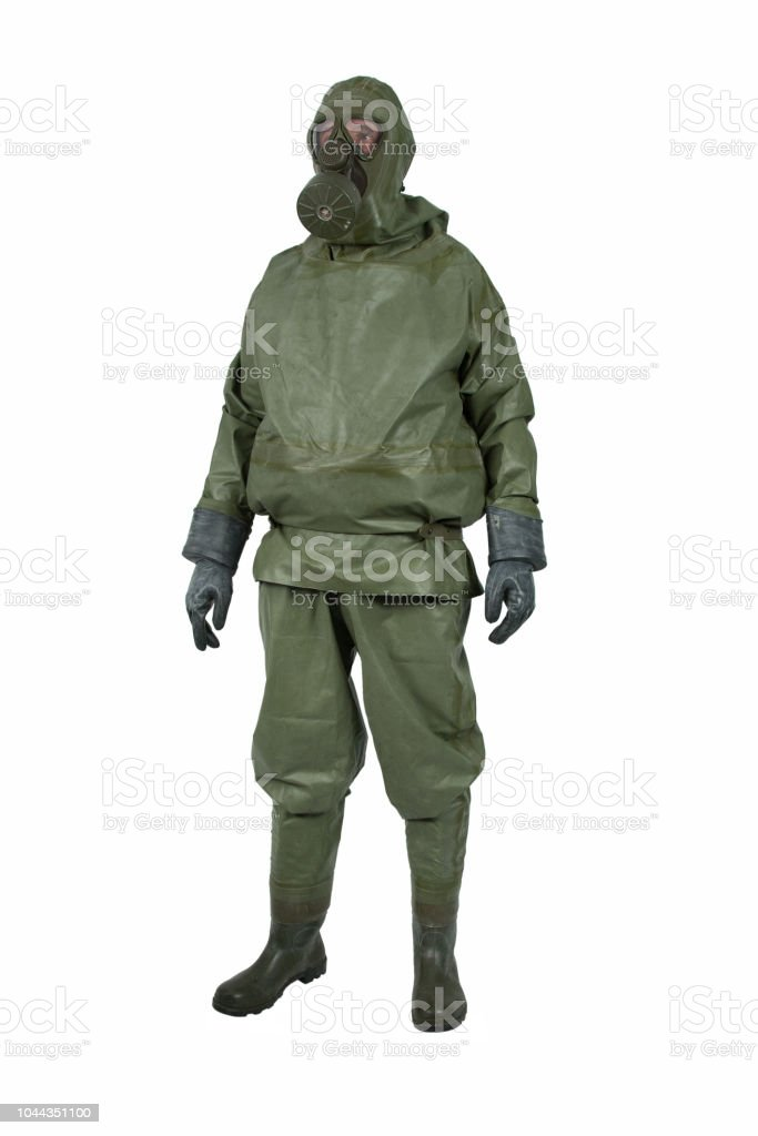 Green NBC protective suit - Royalty-free Accidents and Disasters Stock Photo
