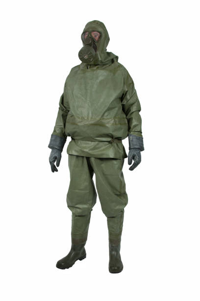 Green NBC protective suit stock photo