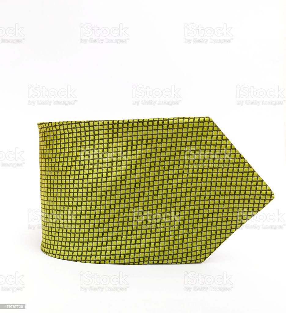 Green necktie on white background stock photo