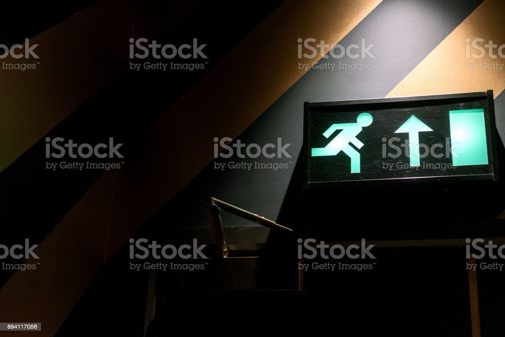 Green Neon Emergency Exit Sign stock photo