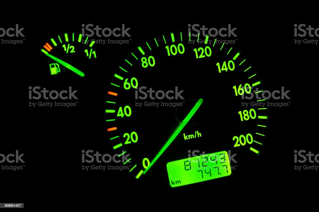 Green neon speedometer royalty-free stock photo