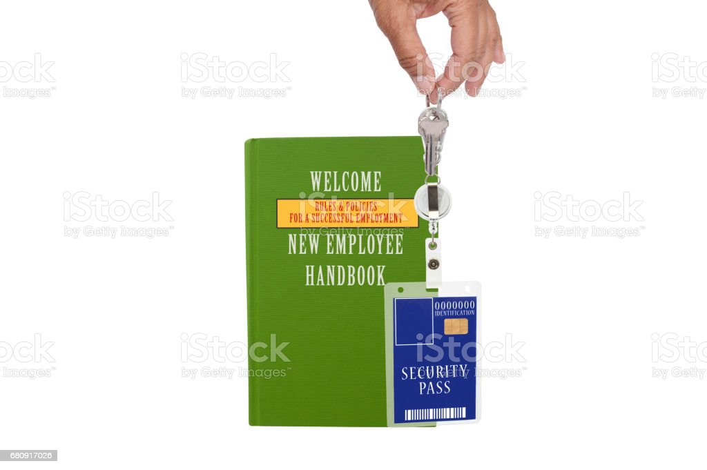 Green New Employee Manual Security Badge royalty-free stock photo