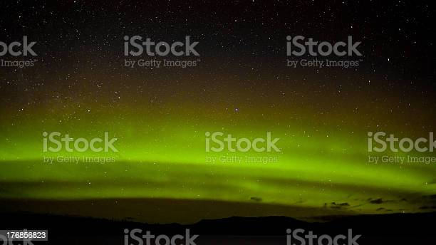 Photo of Green northern lights and myriad of stars