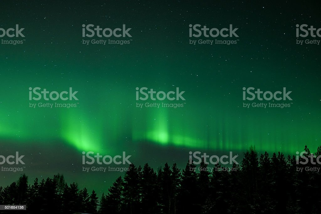 Green northern lights stock photo
